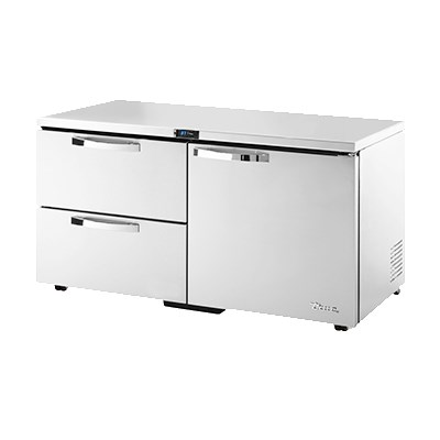 True TUC-60D-2-LP-HC~SPEC1 15.5-cu ft Undercounter Refrigerator w/ (2) Sections, (1) Door & (2) Drawers, 115v
