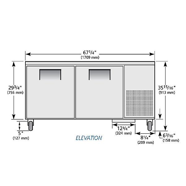 True TUC-67 20.6-cu ft Undercounter Refrigerator w/ (2) Sections & (2) Doors, 115v