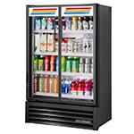 """True TVM-36SL-HC~SW01 36"""" Two-Section Glass Door Merchandiser w/ Swing Doors, Black, 115v"""