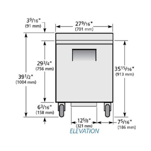 "True TWT-27-HC LH 27"" Worktop Refrigerator w/ (1) Section & Left-hinged Door, 115V"