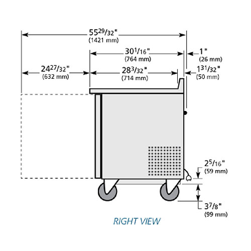 """True TWT-27-ADA-HC LH 27"""" ADA-height Worktop Refrigerator w/ (1) Section & Left-hinged Door, 115V"""