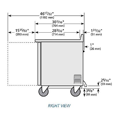 "True TWT-36 37"" Worktop Refrigerator w/ (2) Sections, 115v"