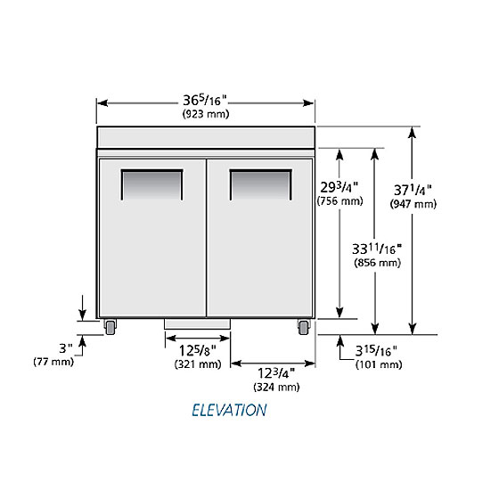 "True TWT-36-ADA 37"" Worktop Refrigerator w/ (2) Sections, 115v"