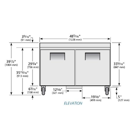 True TWT-48F-HC 12-cu ft Work Top Freezer w/ (2) Sections & (2) Doors, 115v
