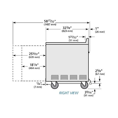 True TWT-60-32F-HD 15.9-cu ft Work Top Freezer w/ (2) Sections & (2) Doors, 115v