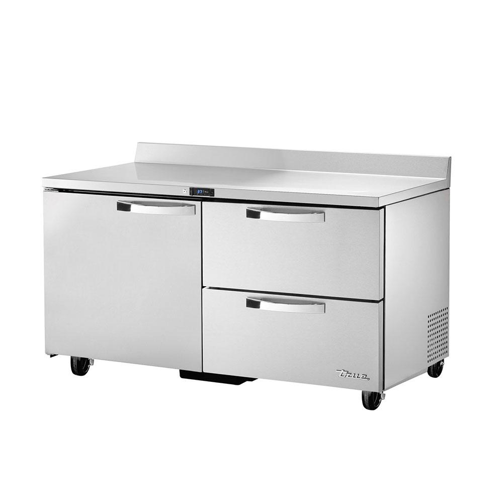 """True TWT-60D-2~SPEC1 60"""" Work Top Refrigerator w/ (2) Sections, (1) Door & (2) Drawers, 115v"""