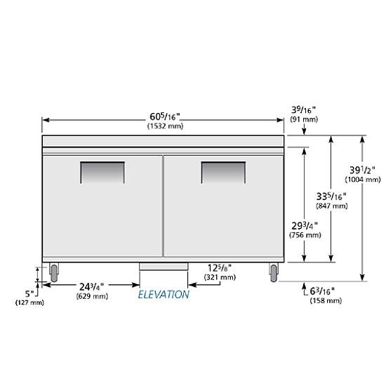 True TWT-60F 15.5-cu ft Undercounter Freezer w/ (2) Sections & (2) Doors, 115v