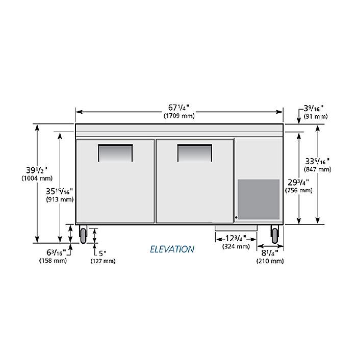 "True TWT-67 67.25"" Worktop Refrigerator w/ (2) Sections, 115v"