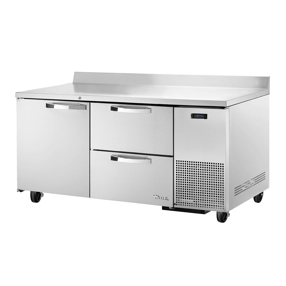 "True TWT-67D-2~SPEC1 67"" Work Top Refrigerator w/ (2) Sections, (1) Door & (2) Drawers, 115v"