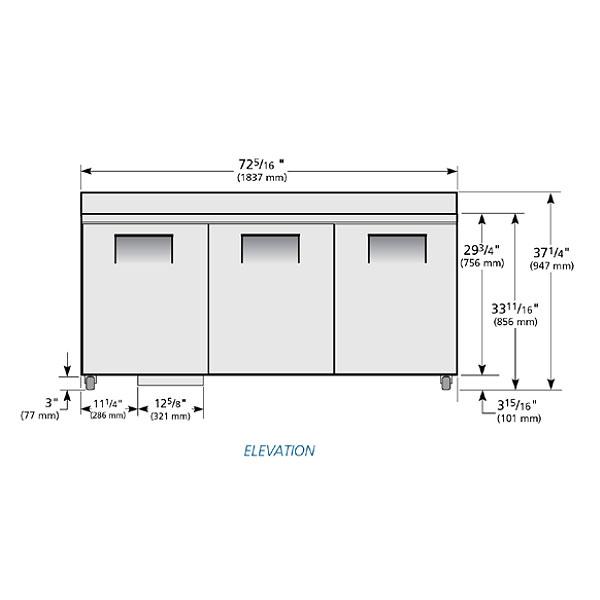 "True TWT-72-ADA 72.38"" ADA Height Worktop Refrigerator w/ (3) Sections, 115v"