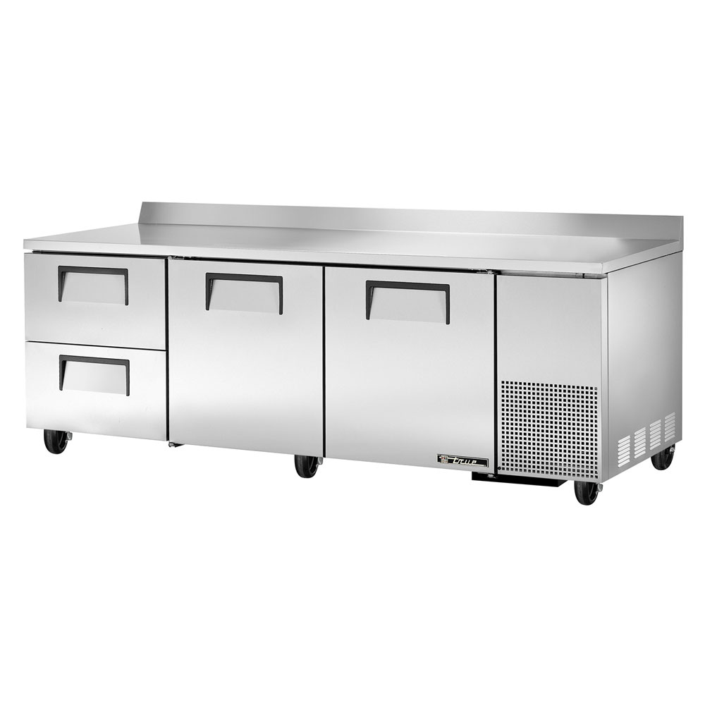 """True TWT-93D-2 93.25"""" Work Top Refrigerator w/ (3) Sections & (2) Drawers, 115v"""