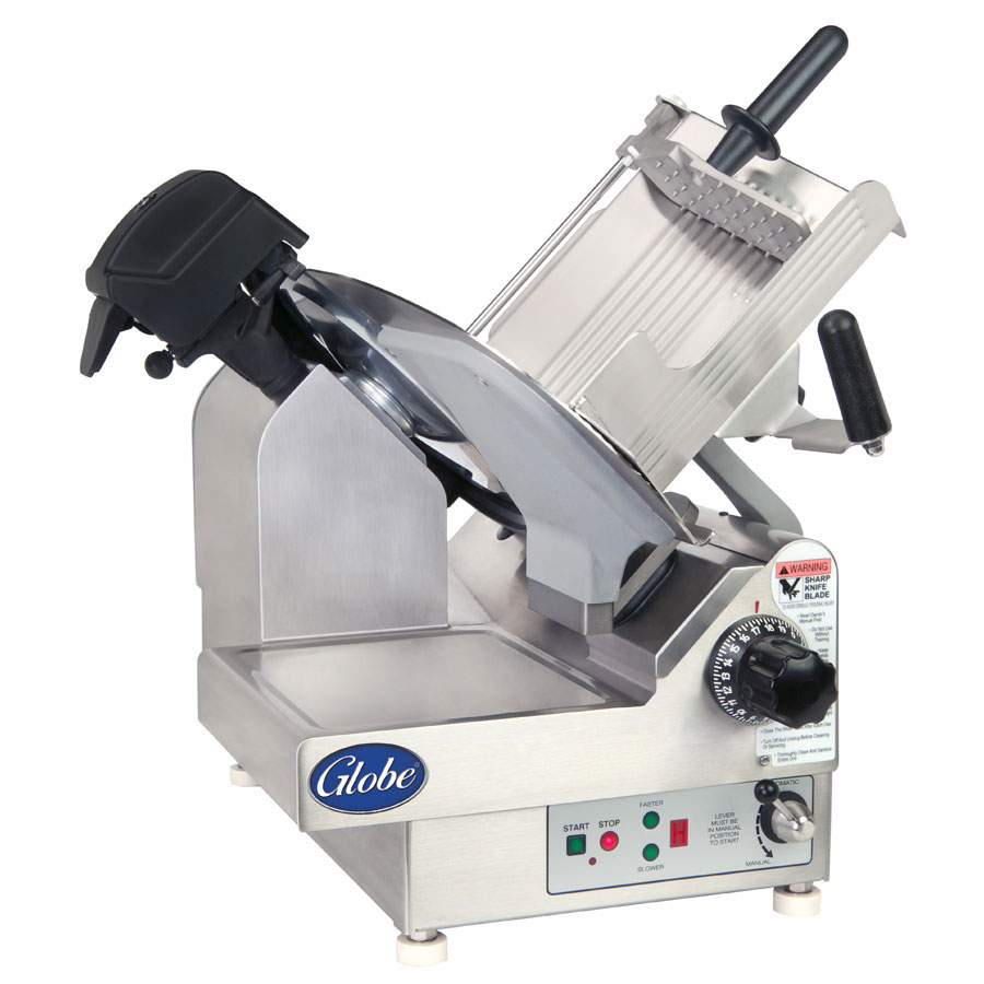 "Globe 3975NF Frozen Meat Slicer - 13"" Serrated Knife Blade, 9-Speed, Stainless 115v"