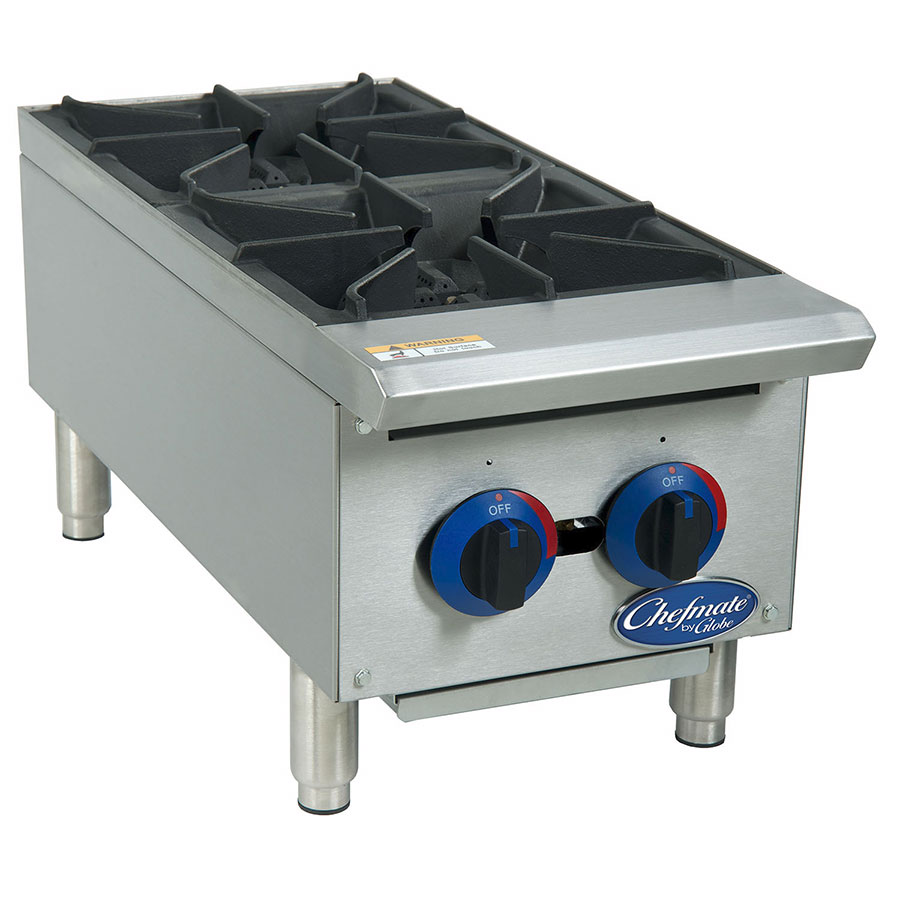 """Globe C12HT 12"""" Hot Plate w/ 2 Burners, Heavy Duty Grates, Stainless, NG"""