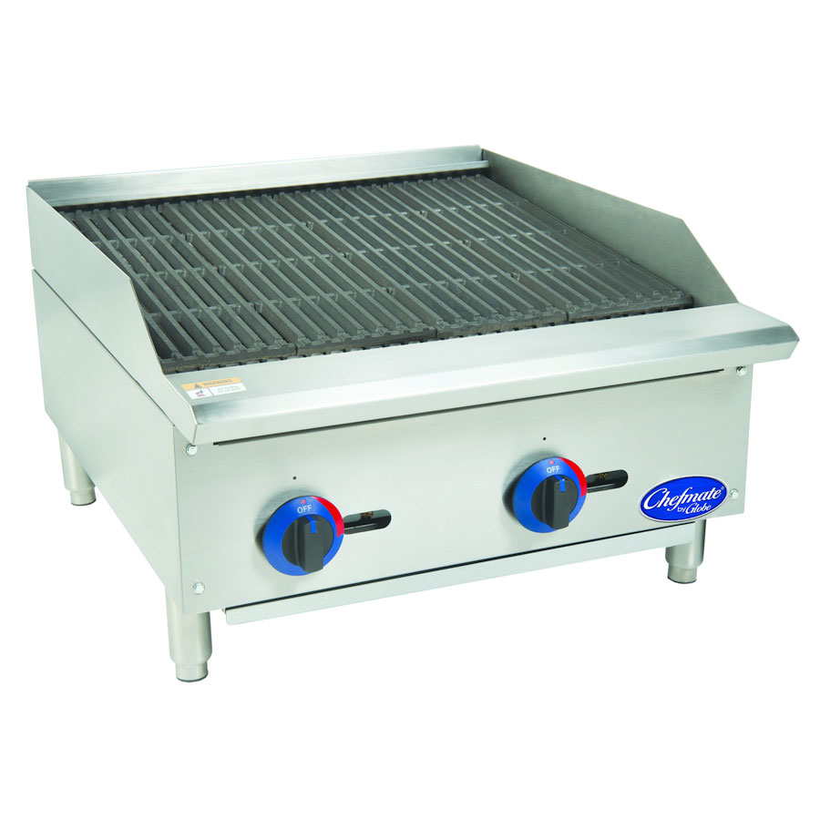 "Globe C24CB-SR 24"" Countertop Gas Charbroiler w/ Heavy Duty Grates, Radiant, Stainless"