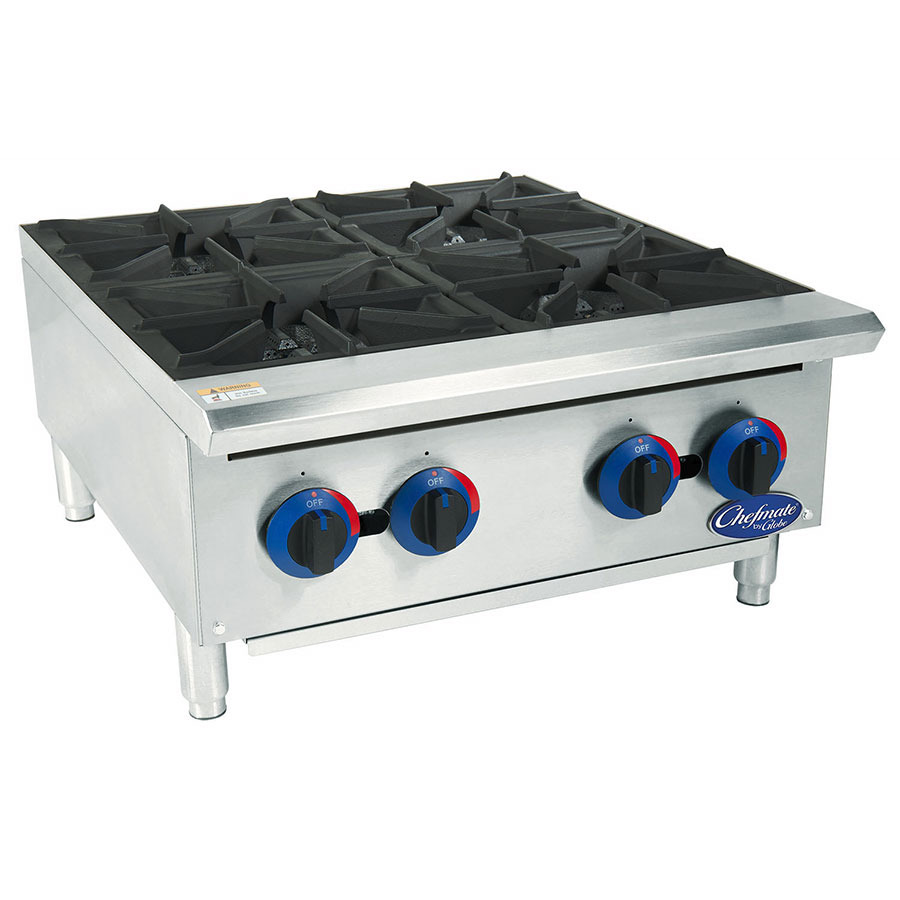 "Globe C24HT 24"" Hot Plate w/ 4-Burners, Heavy Duty Grates & Adjustable Legs, Stainless"