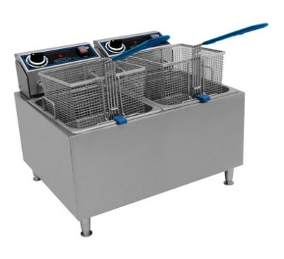 Globe PF32E 32 lb Countertop Fryer Dual Tanks Swing Up Element (2) 208/240 V Restaurant Supply