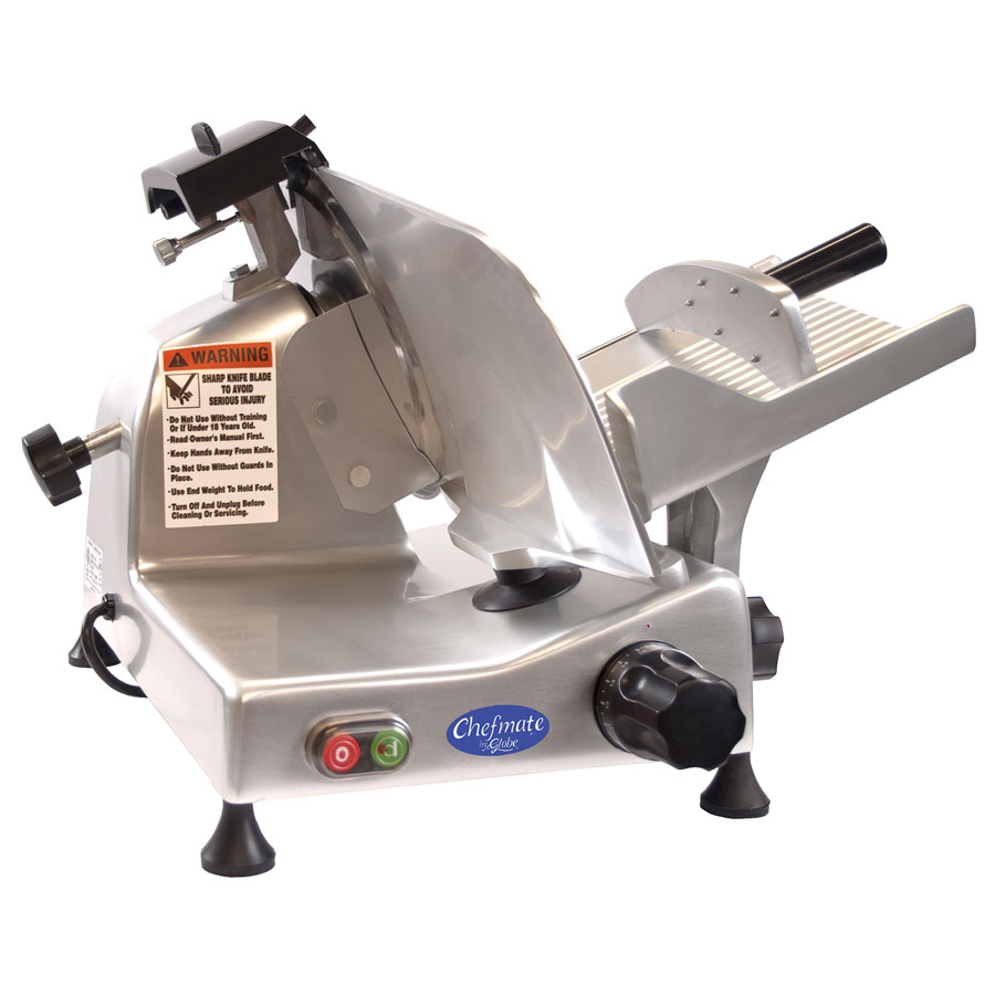 "Globe E250 10"" Manual Food Slicer w/ Knife Sharpener, Aluminum, 115v"