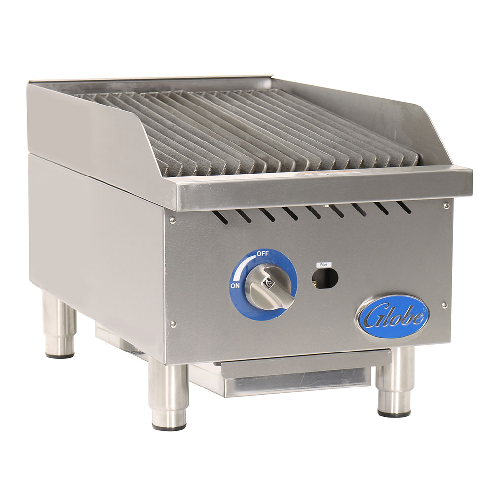 "Globe GCB15G-RK 15"" Countertop Gas Charbroiler w/ Cool-Touch Edge, Char Rock"
