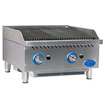 "Globe GCB24G-CR 24"" Countertop Gas Charbroiler w/ Reversible Grates, Radiant, Stainless"