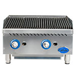 """Globe GCB24G-RK 24"""" Countertop Gas Charbroiler w/ Reversible Grates, Char Rock, Stainless"""