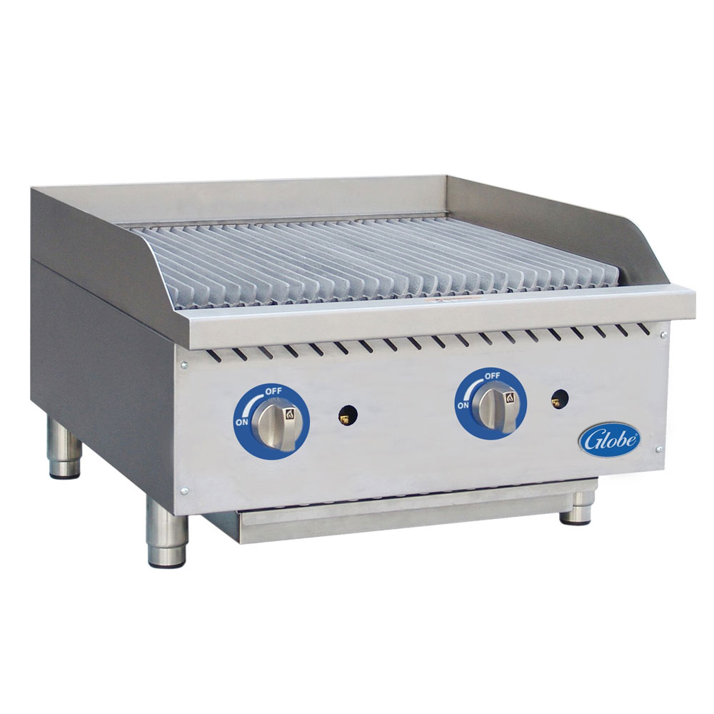 "Globe GCB24G-RK 24"" Countertop Gas Charbroiler w/ Reversible Grates, Char Rock, Stainless"