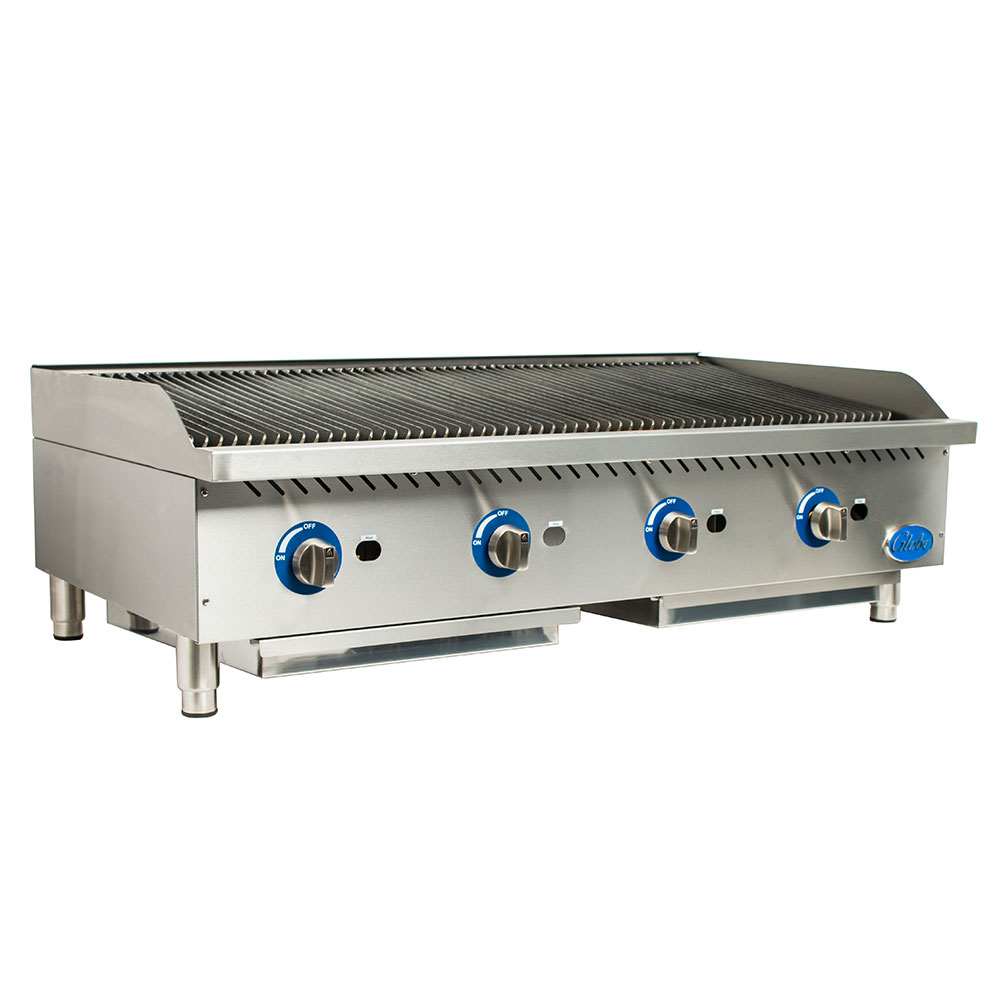 Globe GCB48G-SR 48-in Radiant Countertop Charbroiler w/ Cast-Iron Grates, NG