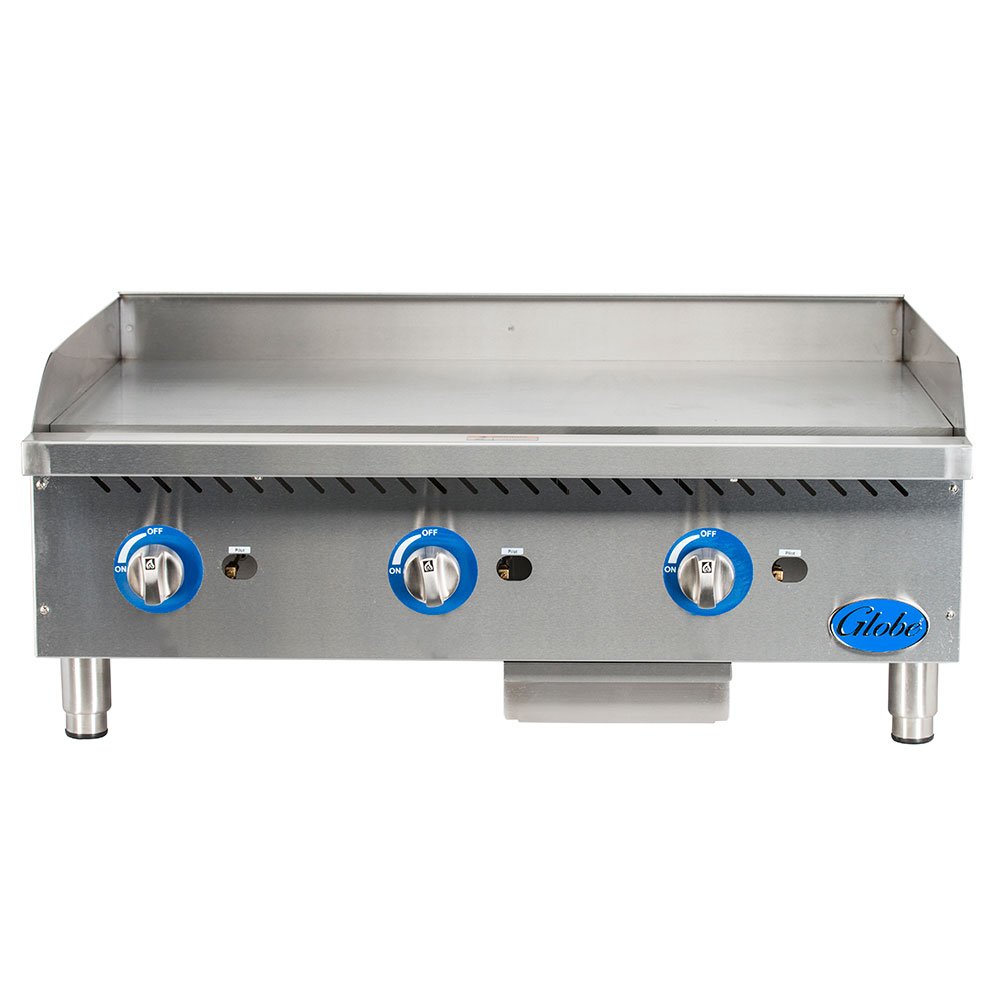 "Globe GG36G 36"" Gas Griddle - Manual, 1"" Steel Plate, NG"