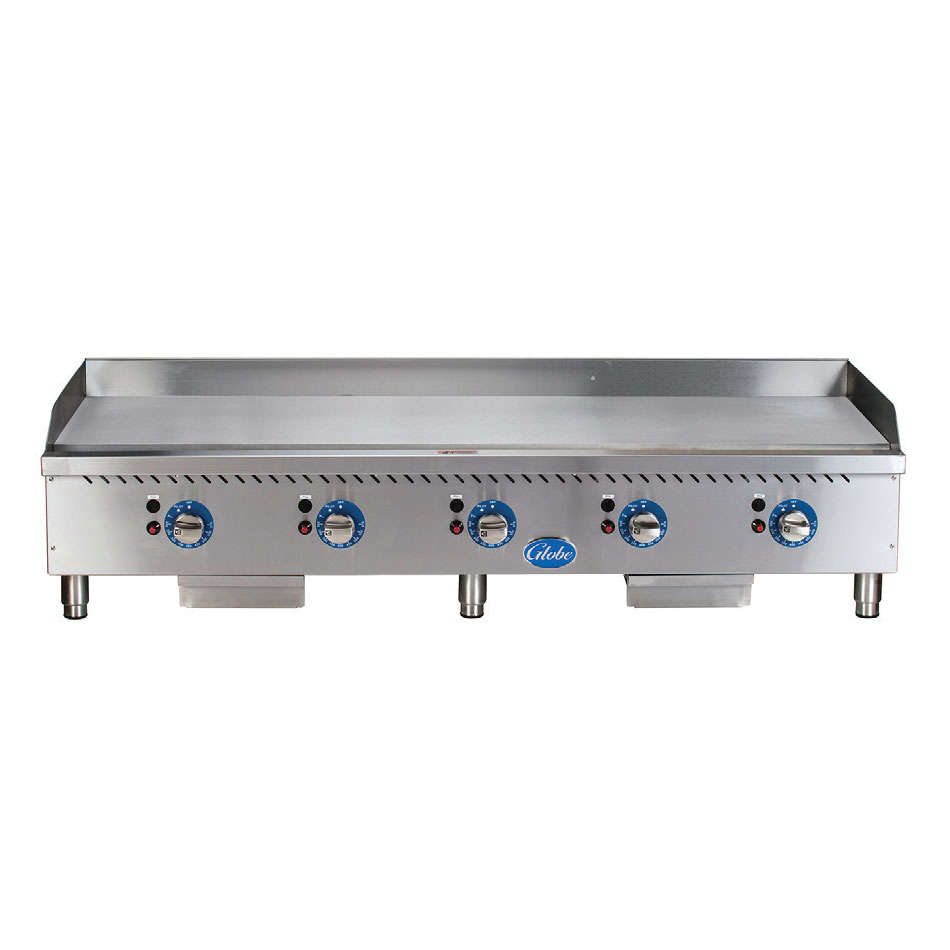 "Globe GG60TG 60"" Gas Griddle - Thermostatic, 1"" Steel Plate"