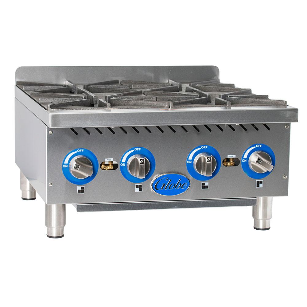 "Globe GHP24G 24"" Hot Plate w/ (4) Cast Iron Burners & Manual Controls, LP/NG"