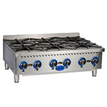 Globe GHP36G Countertop Hot Plate w/ 6 Burners, Heavy Duty Grates, NG