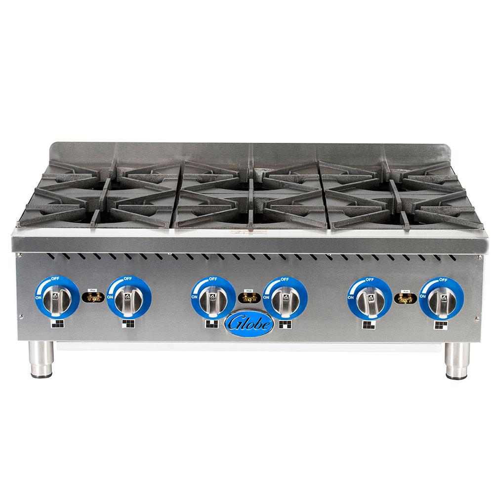 "Globe GHP36G 36"" Gas Hotplate w/ (6) Burners & Manual Controls, NG"