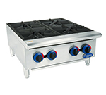 Globe C24HT 24-in Hot Plate w/ 4-Burners, Heavy Duty Grates & Adjustable Legs, Stainless