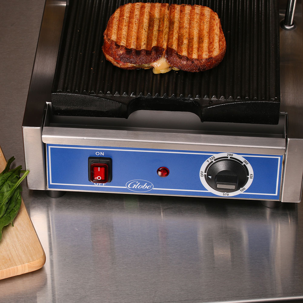 Globe GPG10 Commercial Panini Press w/ Cast Iron Grooved Plates, 120v