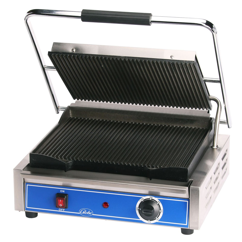 "Globe GPG1410 Panini Grill - 14x10"", Seasoned Cast Iron Grooved Griddle Plates, Stainless Steel, 120v"