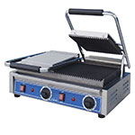 Globe GPGDUE10 240 Dual Bistro Panini Grill w/ Grooved Plates, 240 V