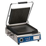 Globe GPGS14D Commercial Panini Press w/ Cast Iron Grooved Top/Smooth Bottom Plates, 120v