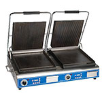 Globe GPGSDUE14D Double Commercial Panini Press w/ Cast Iron Grooved Top/Smooth Bottom Plates, 208-240v/1ph