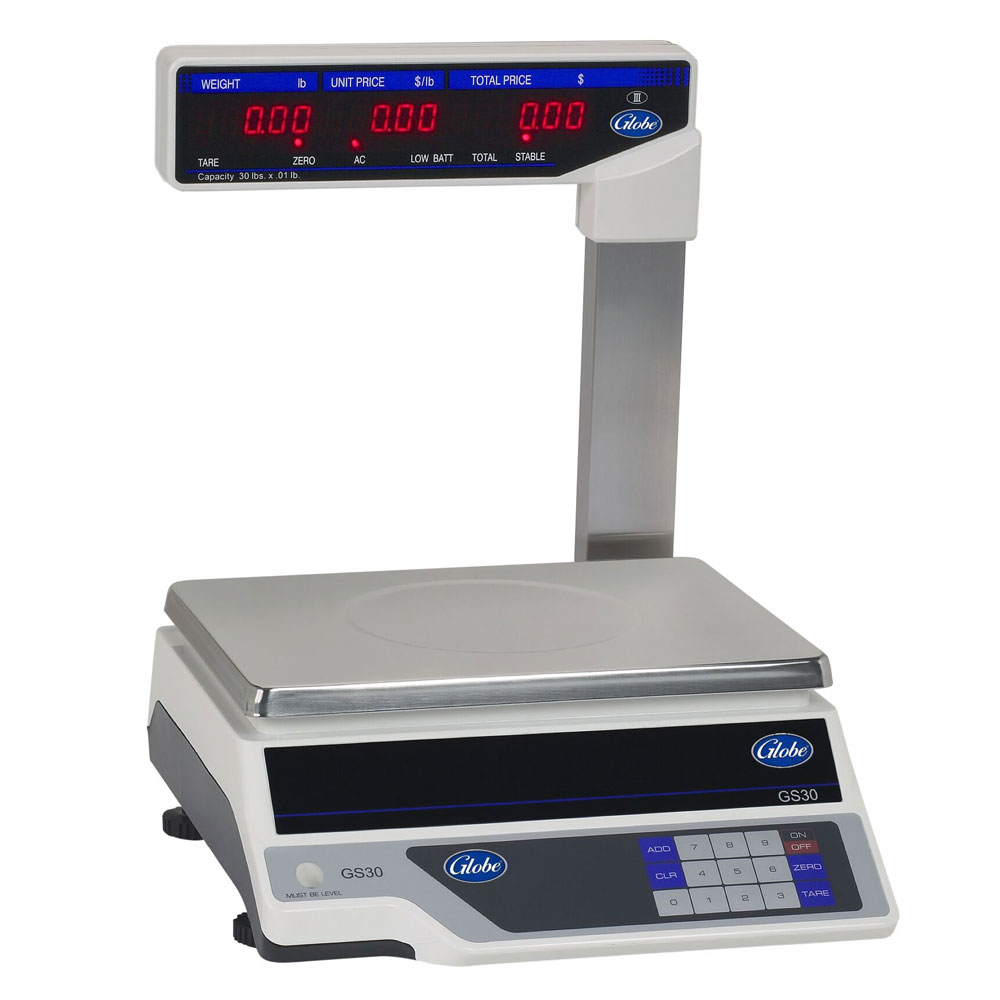 Globe GS30T 30-lb Price Computing Scale - Display Tower, 115v