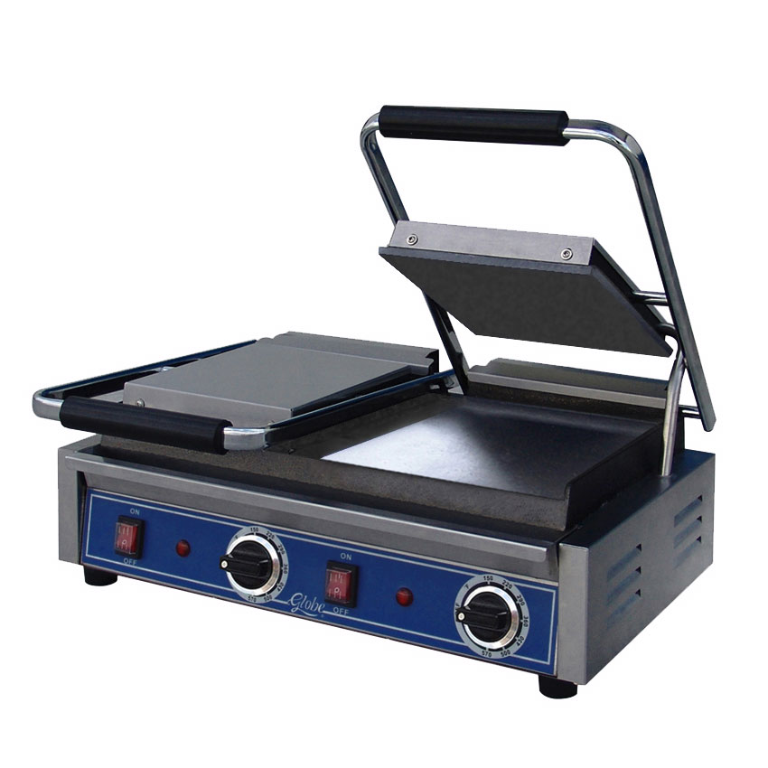 Globe GSGDUE10 Double Commercial Panini Press w/ Cast Iron Smooth Plates, 208-240v/1ph