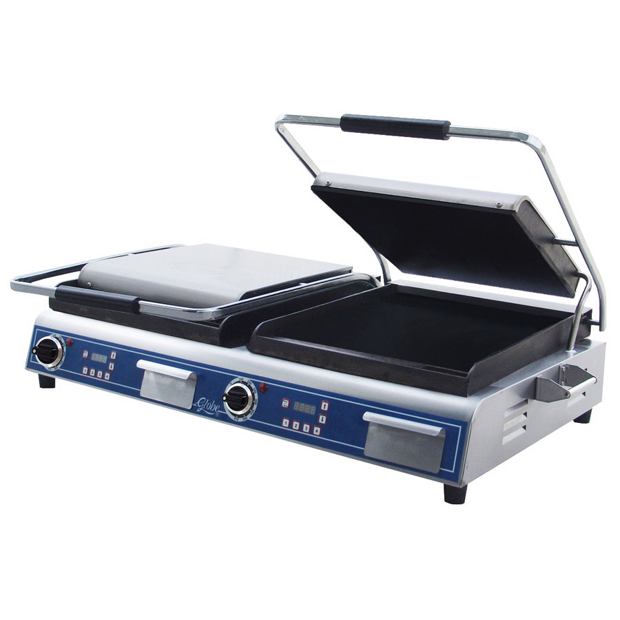 Globe GSGDUE14D Double Commercial Panini Press w/ Cast Iron Smooth Plates, 208-240v/1ph