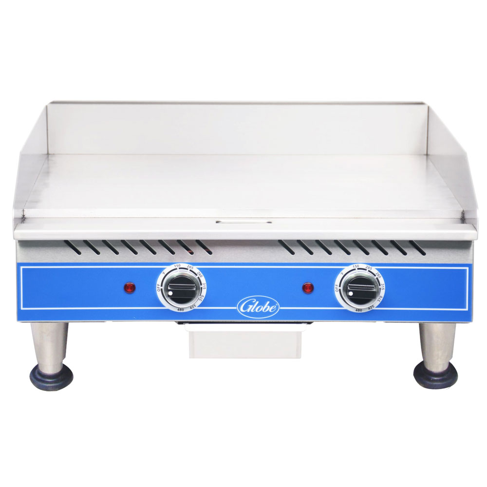 "Globe PG24E 24"" Griddle - Countertop, Thermostat Control, Stainless Steel, 208/1V"