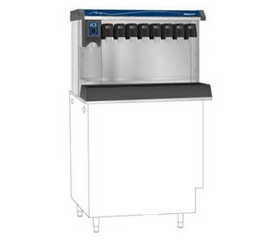 Follett VU155B8RP Countertop Nugget Ice Dispenser w/ Drink Rail & 150-lb Storage - Cup Fill, 115v