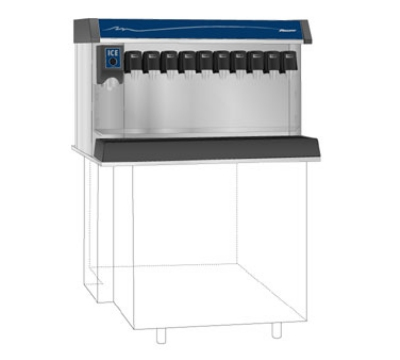 Follett VU300B8RP Countertop Nugget Ice Dispenser w/ Drink Rail & 300-lb Storage - Cup Fill, 115v