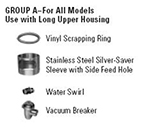 Hobart ACCESS-GROUPA Disposer Accessories w/ Vinyl Scrapping Ring & Stainless Silver Saver Sleeve