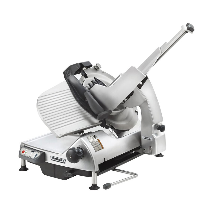 """Hobart HS9N-1 Auto Heavy Duty Slicer w/ 13"""" Knife & Top Mount Sharpener, Anodized Finish"""