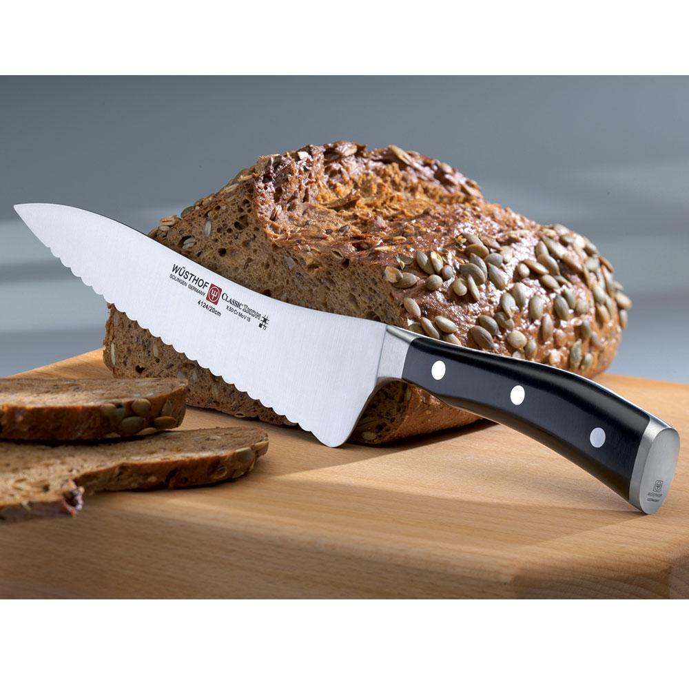 """Wusthof 4124-7 8"""" Deli Knife - Wavy Edge, Forged"""