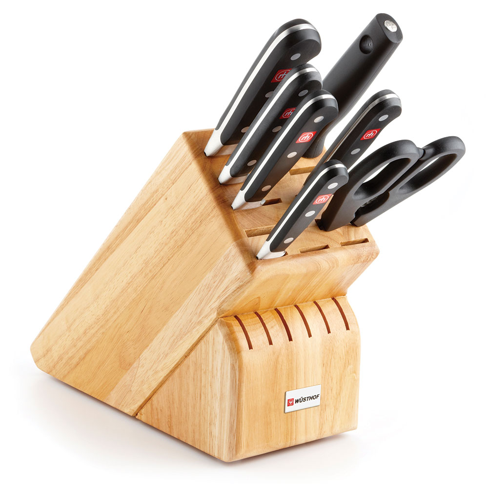 Wusthof 8408 8-Piece Block Set w/ (5) Knives, Shears, Sharpening Steel & 17-Slot Block
