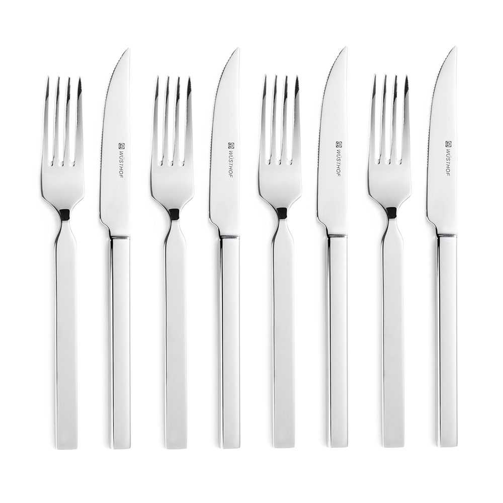 Wusthof 8744 8 piece steak knife fork set 4 4 5 serrated steak knives 4 forks - Knives and forks sets ...