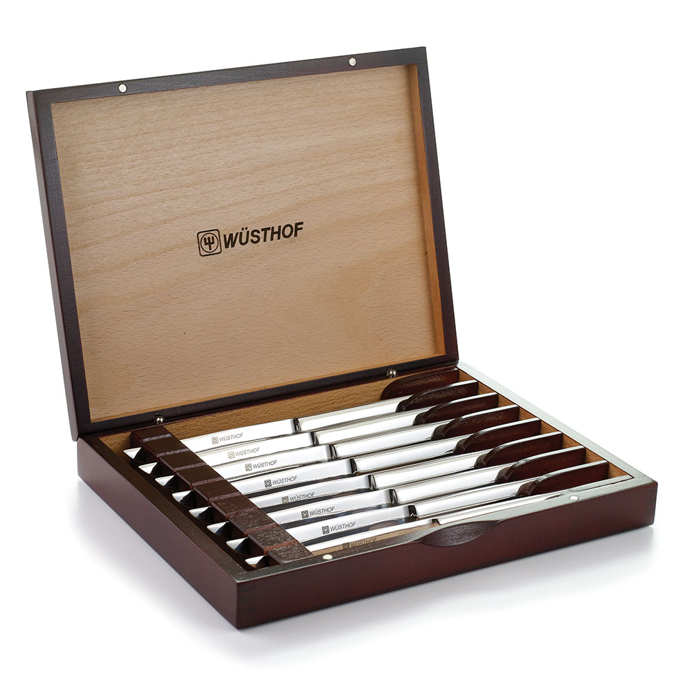 Wusthof 9468 8-Piece Stainless Steel Knife Set w/ Mahogany Stained Gift Box