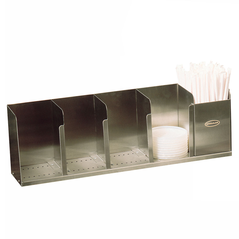 """Modular Dispensing Systems 1004061 22"""" Countertop Lid Dispenser w/ 5-Adjustable Dividers, Stainless"""